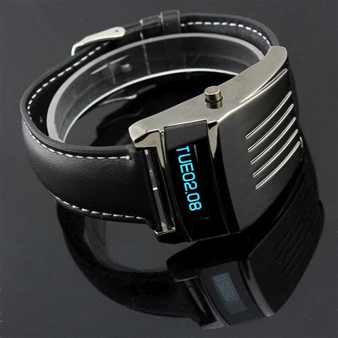 cool iron style digital cold blue led wrist watches pu
