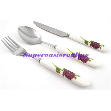 Panci Set Ceramic Dessini 3in1 2017 stainless steel fork spoon knife white ceramic handle flower design 3in1