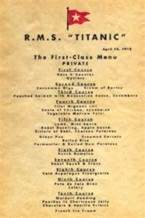 titanic first class menu 1000 images about titanic on pinterest first class rms