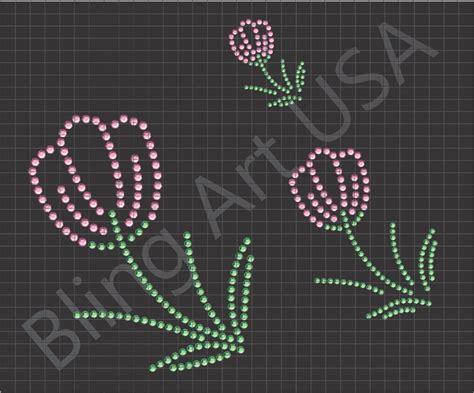 rhinestone template designs flower rhinestone design tulips flowers plants