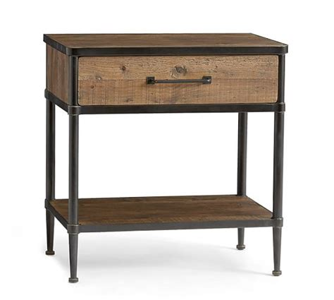 juno reclaimed wood bedside table pottery barn