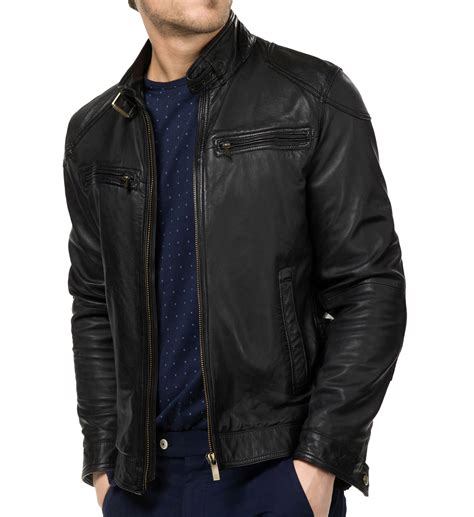 Black Leather Jacket Mens Blusterleather Motorcycle
