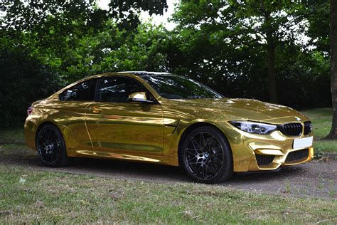 bmw m4 gold bmw m4 wrapped in gold chrome reforma uk