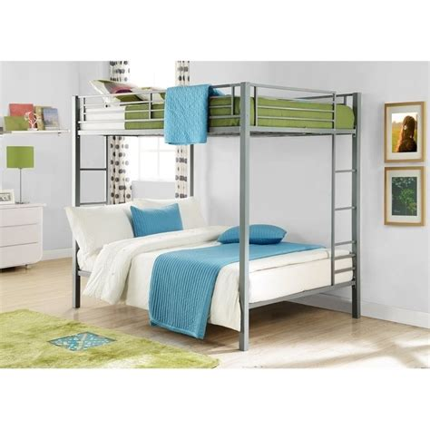 metal bunk bed dhp full over full metal bunk bed silver ebay