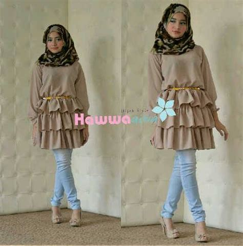 Baju Wide Top Rt wody rufle top moca baju muslim gamis modern
