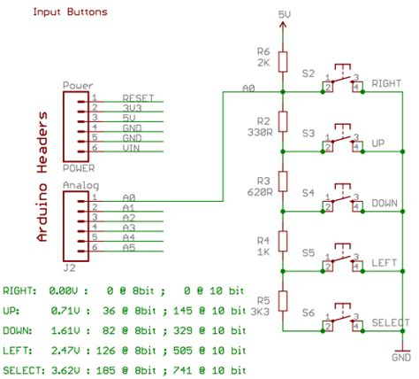 arduino resistor keyboard can i read 5 switches of one pin