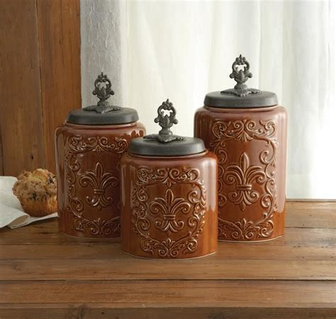 antique fleur de lis brown canister set rustic kitchen