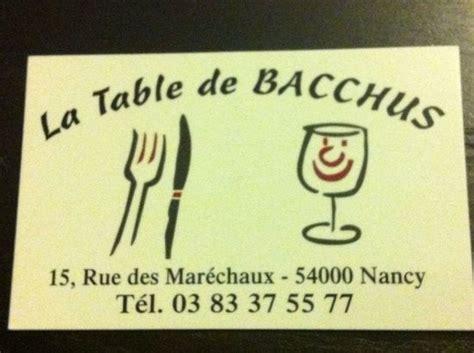 table de bacchus p 226 t 233 lorrain photo de la table de bacchus nancy