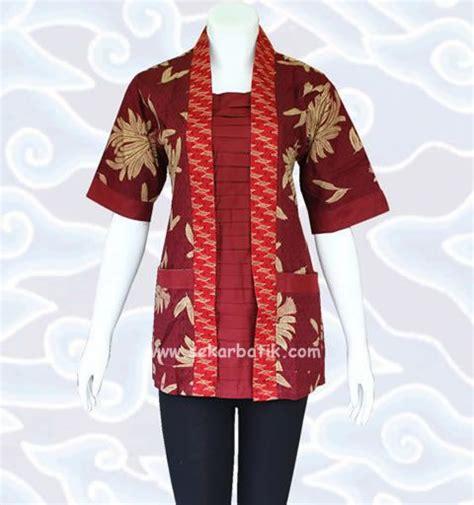 Baju Fashion Ac 286 baju blus batik kerja wanita warna marun bb31 di koleksi http sekarbatik blus batik