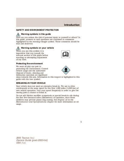free auto repair manuals 2005 ford taurus parental controls 2005 ford taurus owners manual