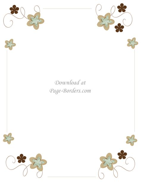 Flowers Card Template Border Of Paper by Free Flower Border Template
