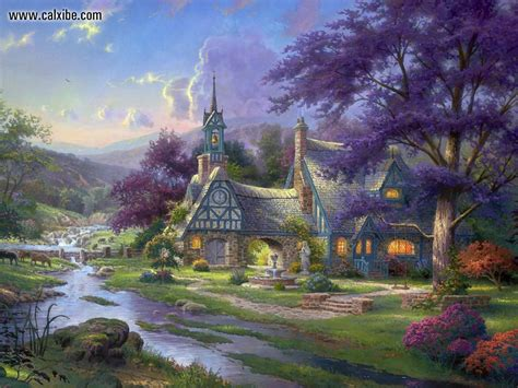 kinkade cottage paintings drawing painting kinkade clocktower cottage