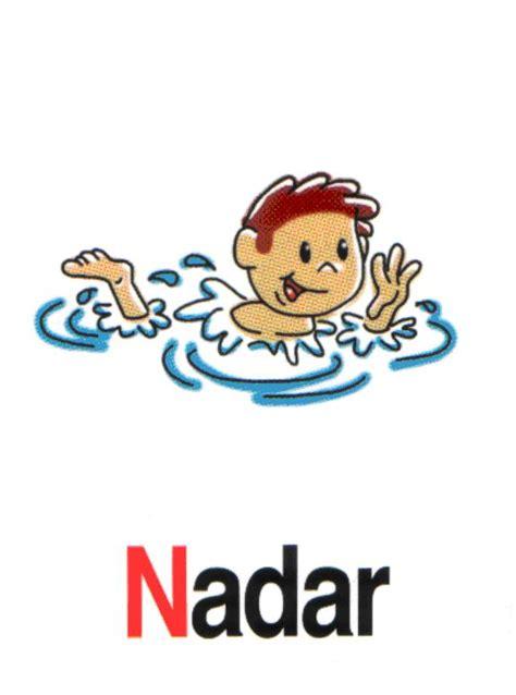 imagenes de niños nadando para colorear fichas de acciones cotidianas