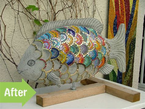 Mosaic Ideas For The Garden Before After Ingrid S Mosaic Garden Fish Pith Vigor