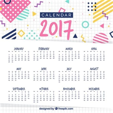 Colorful Calendar For 2017 Vector Free