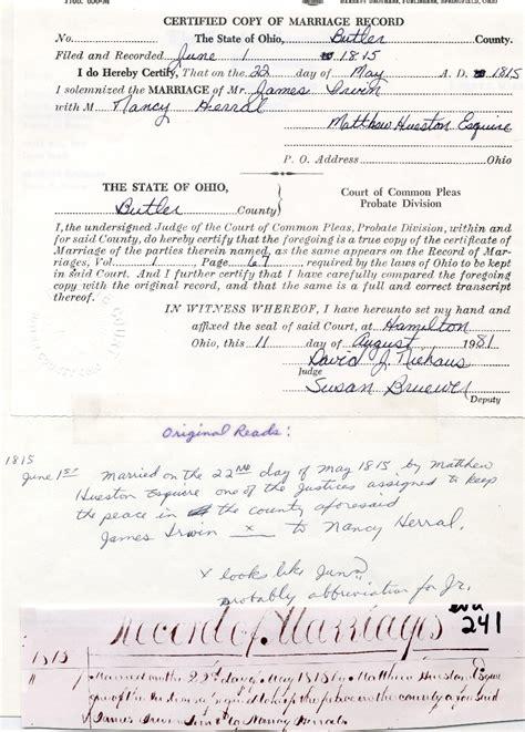 Marriage Records Butler County Ohio Rhinehart Bassett Family Tree Marriage Record Of