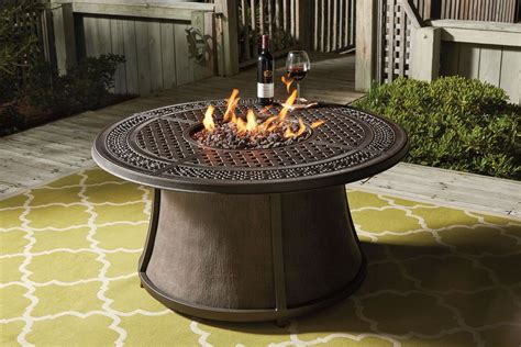 Burnella Round Fire Pit Outdoor Dining Set, P456 776T 776B