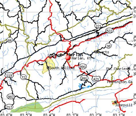 kentucky map harlan county harlan kentucky ky 40806 40831 profile population