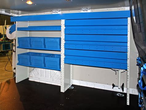 upfit of the ford transit with shelving unit