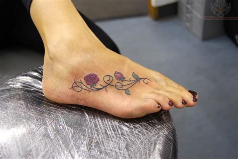 foot rose tattoo on foot