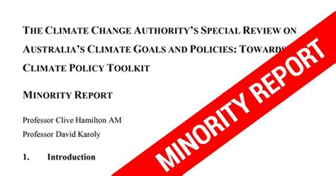 minority report book summary climate change authority special review minority report