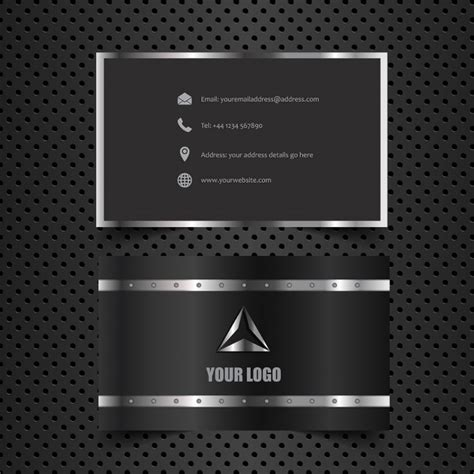 business card template grey business card with metallic style vector free
