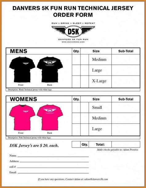 printable t shirt order form template tshirt order form template sleeve t shirt order