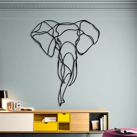 design art signs elephant head design drawing trophy wall sign by tes ted