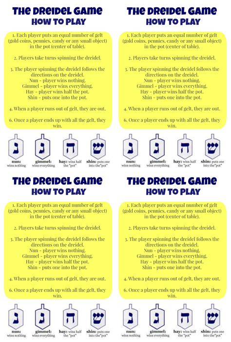 printable directions for dreidel game how to play dreidel and a pretty cool printable
