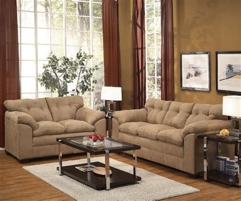 microfiber living room furniture lucille 2pc sofa set in latte microfiber modern living