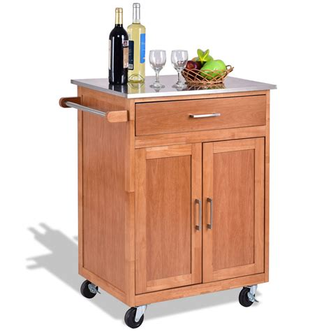 cabinet with stainless steel top wooden kitchen rolling storage cabinet with stainless
