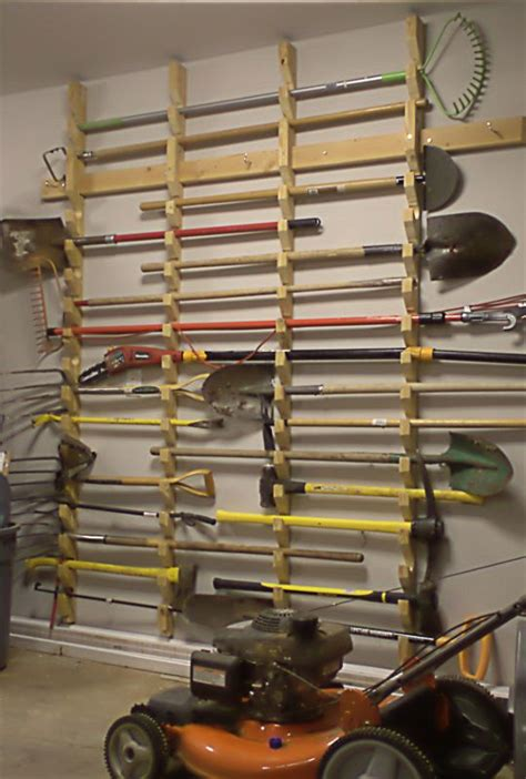 Tool Storage Rack by Garden Tool Storage Rack Woodworking Projects Plans