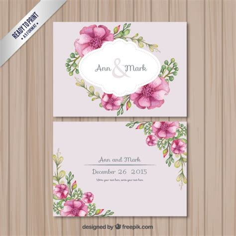 Wedding Card Design Flowers by Retro Wedding Card With Flowers Vector Free