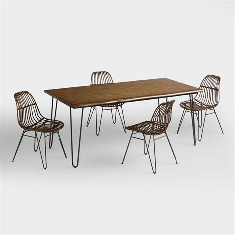 hairpin table and chairs wood flynn hairpin dining collection market