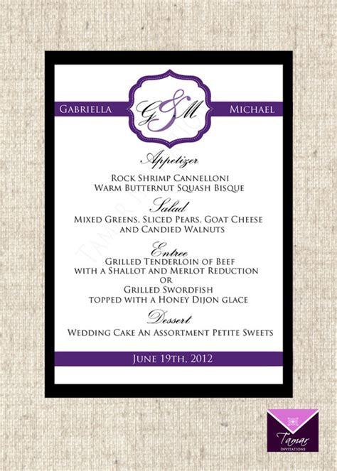 Birthday Menu Card Designs Printable Menu Card For Wedding Shower Dinner Party Custom