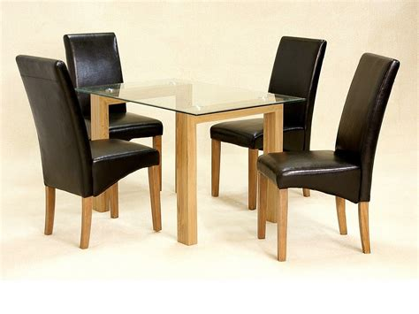 Glass Top Dining Table And Chairs Glass Dining Table And 4 Chairs Clear Small Set Oak Wood Finish
