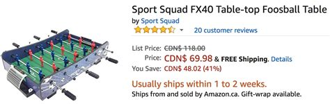 sport squad fx40 foosball amazon canada deals of the day save 50 on sport squad