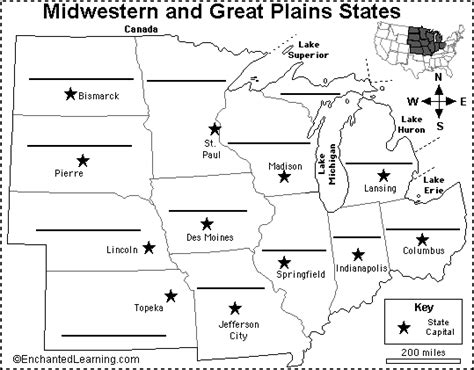 us outline map with states and capitals midwest map with capitals label midwestern us states