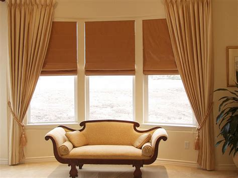blinds and drapes bay window curtains ideas for privacy and beauty