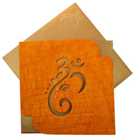 Handmade Paper Wedding Cards - hindu wedding card with ganesha image in orange handmade paper