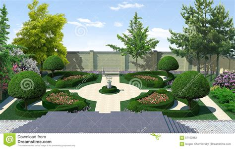 landscaping courtyard classic style 3d render stock