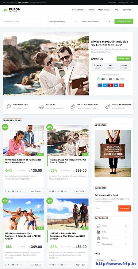 10 Best Daily Deals Wordpress Themes 2016 Dealmirror Com Daily Deals Website Template