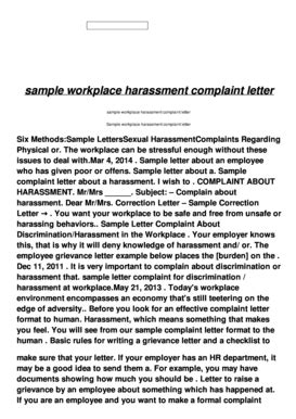 Complaint Letter Harassment In Workplace employee complaint letter forms and templates fillable printable sles for pdf word