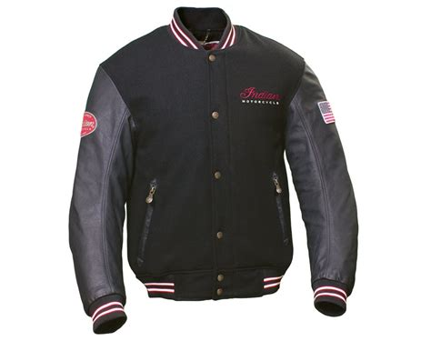 motorcycle apparel varsity jacket black indian motorcycle