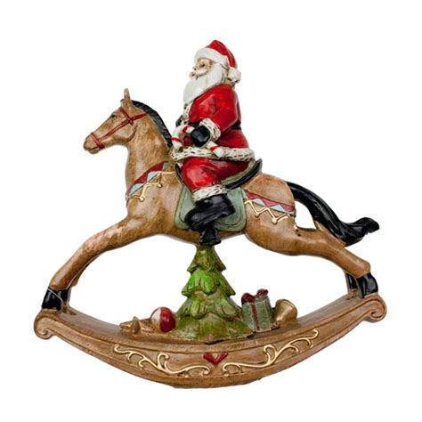gisela graham santa on rocking horse ornament 24cm