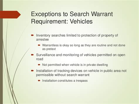 Exceptions To A Search Warrant Chapter 6 Power Point