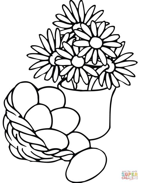 coloring pages of easter flowers easter basket and vase with flowers coloring page free