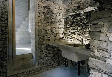 unexpected  stone house interior