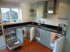 built in kitchen appliances blue grey painted kitchen by peter henderson furniture