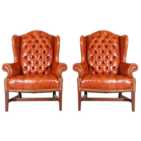 High Back Chairs For Sale by Pair Of Chesterfield Leather High Back Chairs For Sale At